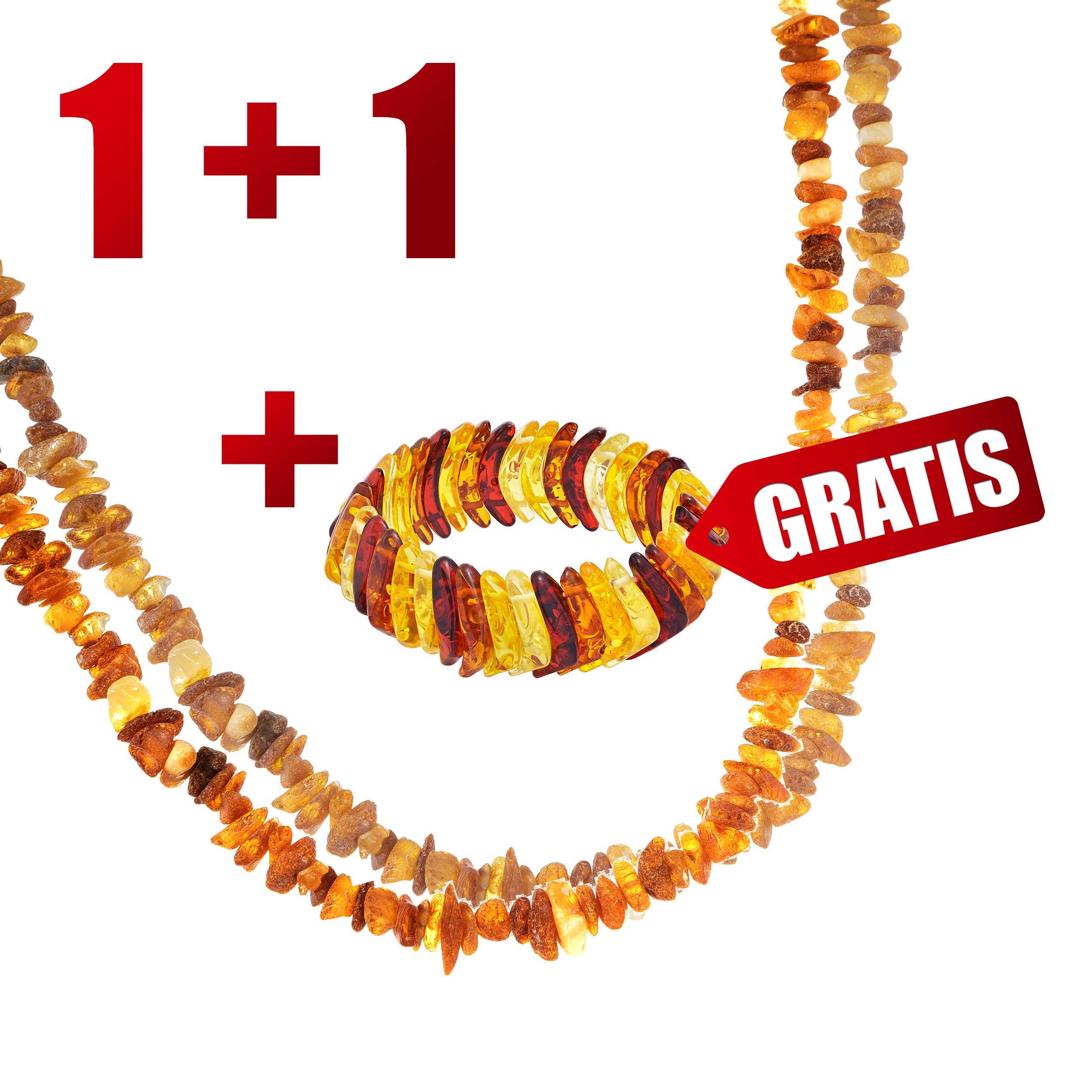 """Perlenkette """"Energie des Bernsteins""""  (2 Stück) + Armband als Geschenk"""